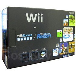 Nintendo Wii Console Black with Wii Sports and Wii Sports Resort Featured