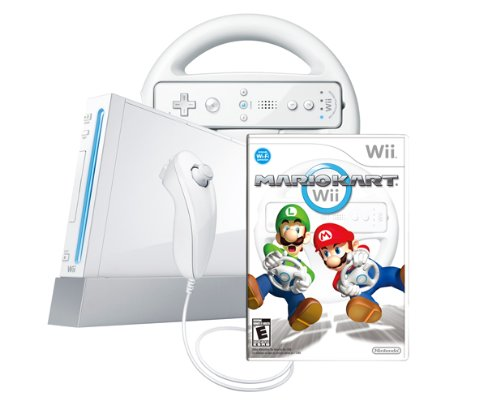 Wii Console with Mario Kart Wii Bundle - White Featured