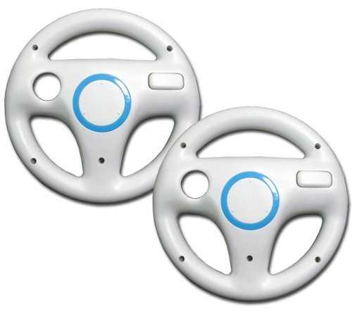 Mario Kart Racing Wheel for Wii (2pcs Bundle) (Bulk Packaging), Color May Vary; Featured